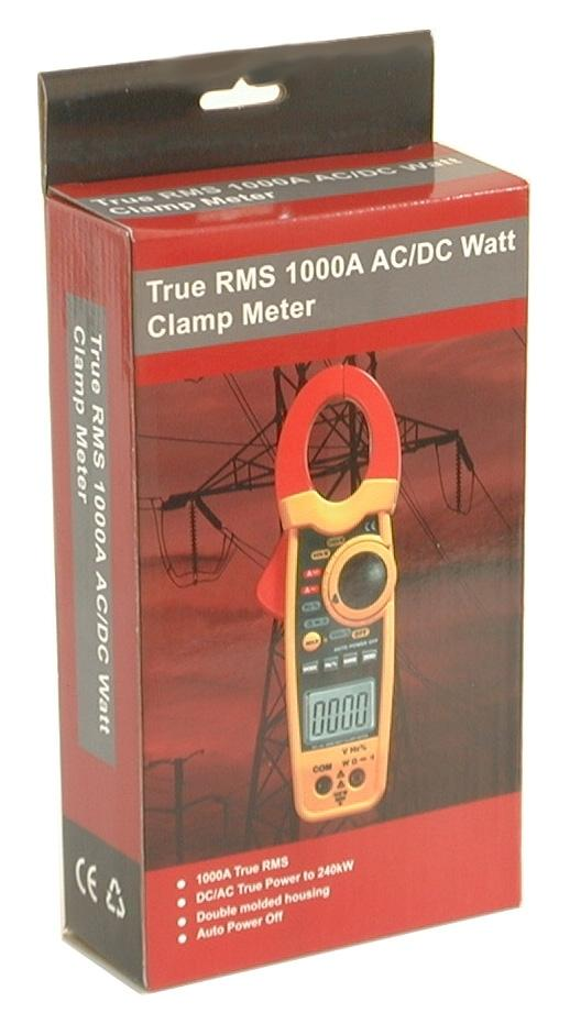 CEM DT-3348 Clamp-on AC/DC Current Voltage Wattage Frequency Resistance Meter True RMS 240KW 1000 Amp