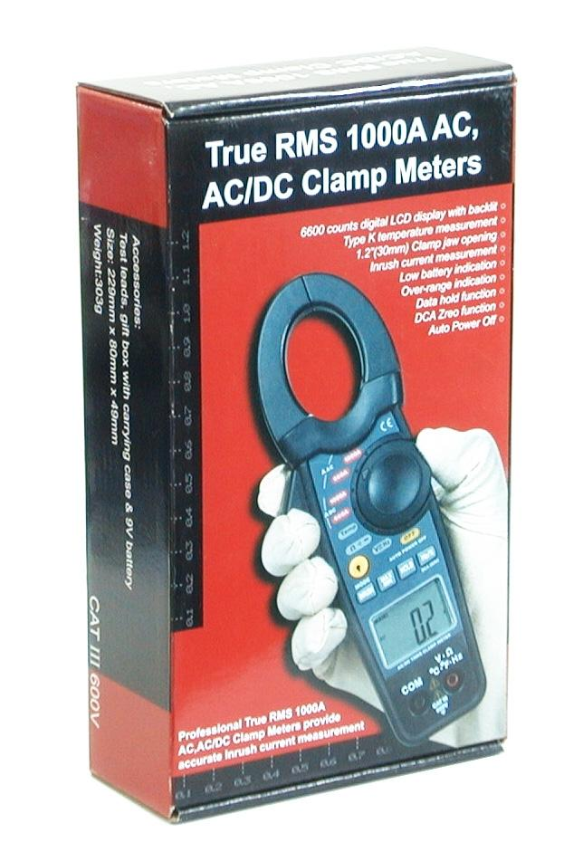CEM DT-3368 True RMS 1000A Inrush AC/DC Current Voltage Frequency Temperature Clamp-on Meter