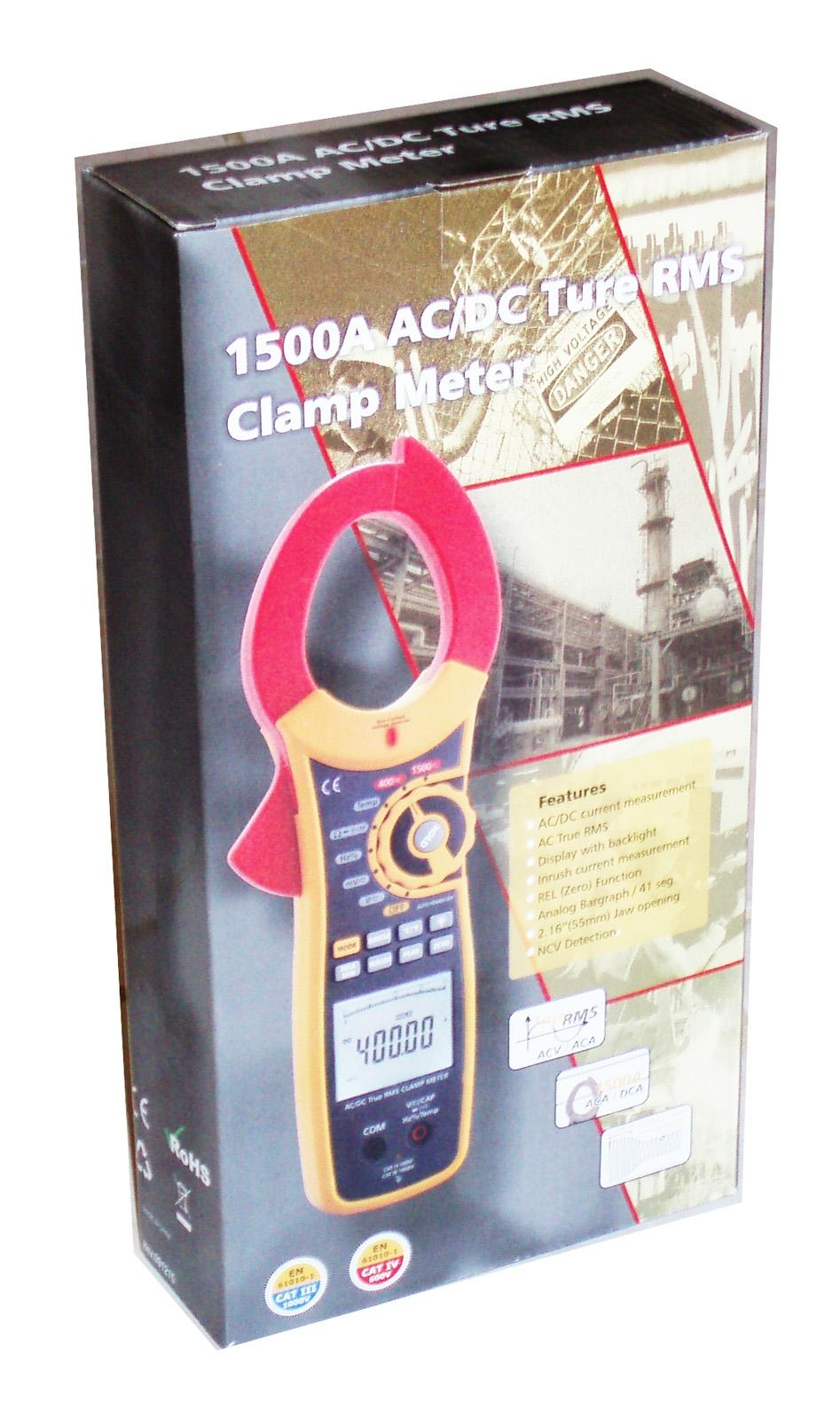 RE DT-3352 Digital 1500A AC DC Watt Resistance Capacitance Frequency True RMS Clamp meter
