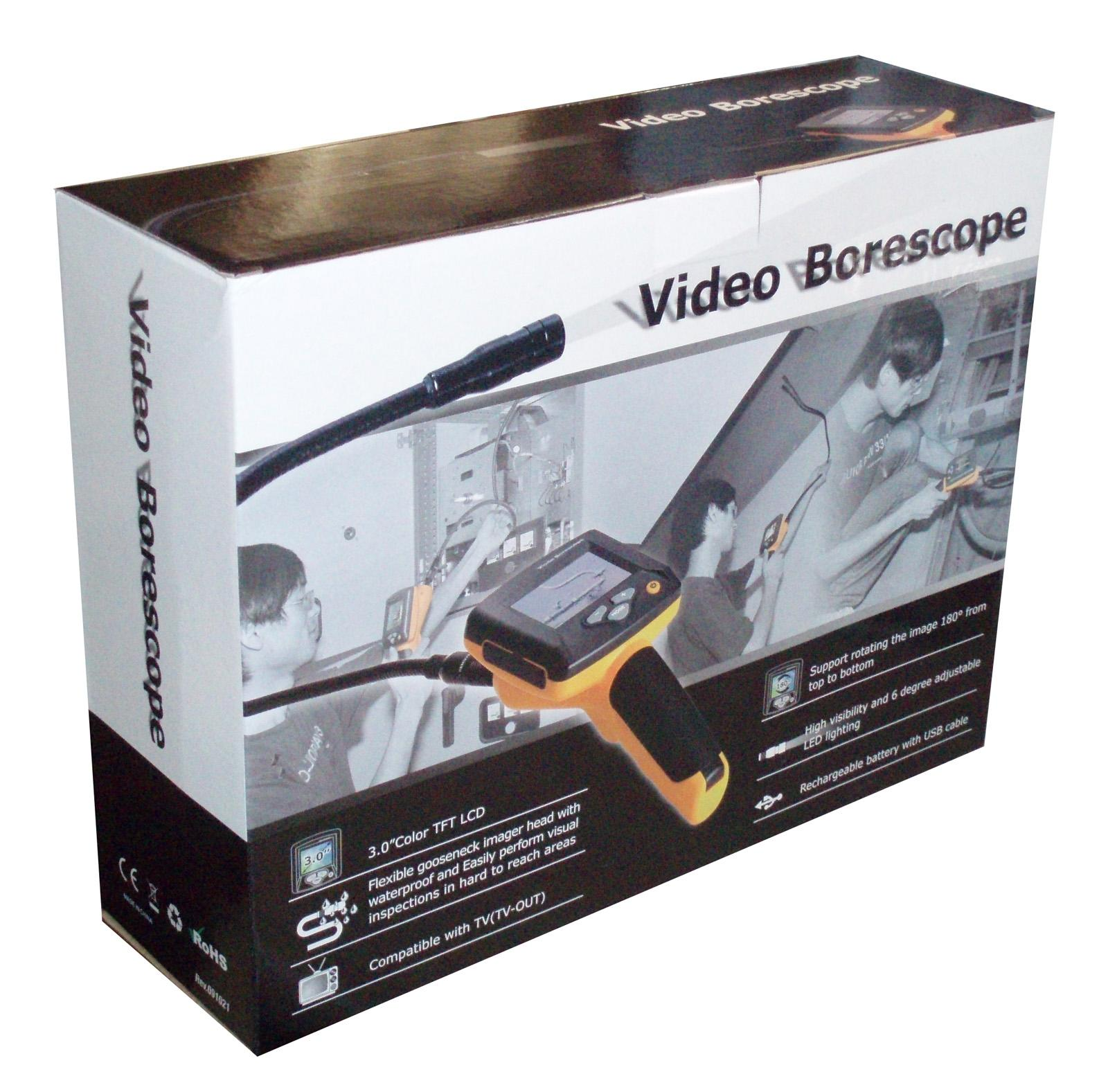 "BS-100 3"" LCD Video Borescope 17mm x 1M Gooseneck with TV-out"