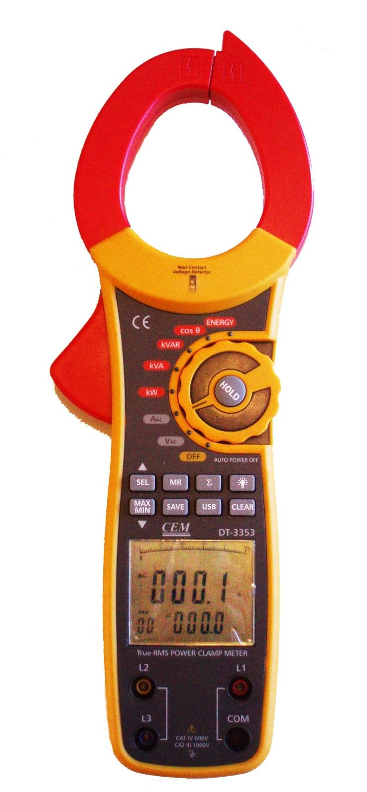 DT-3353 Digital 1000A AC 3-Phase Watt Volt Current True RMS Power Clamp Meter with USB Interface